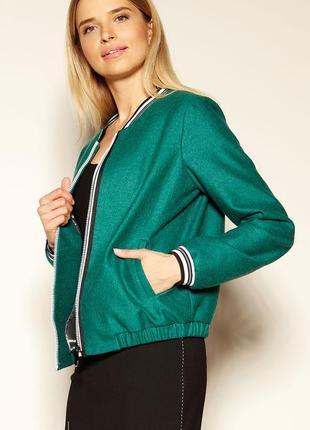 Куртка бомбер с подкладкой zaps женская весенняя осенняя зеленая на молнии с карманами
