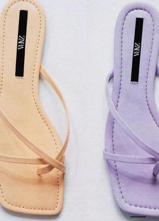 Босоножки сандали шлёпки из эко кожи на завязках zara оригинал