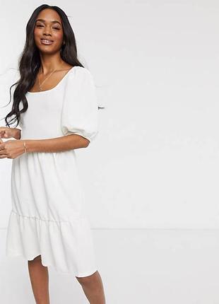 Платье  трапеция с квадратным вырезом и пышными рукавами vero moda