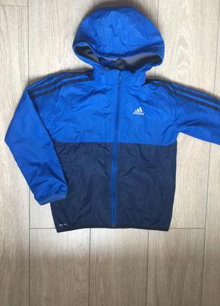 Куртка ветровка на флисе adidas оригинал р.7-8лет