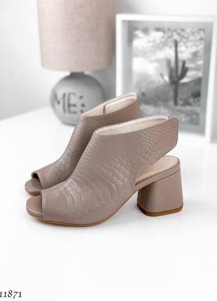 Шикарные босоножки на устойчивом каблуке, натуральная кожа