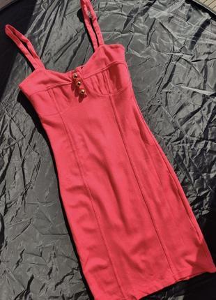 Платье с имитацией лифа коралловое xs s
