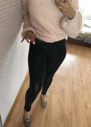 Чёрные плотные лосины леггинсы чёрные5 фото