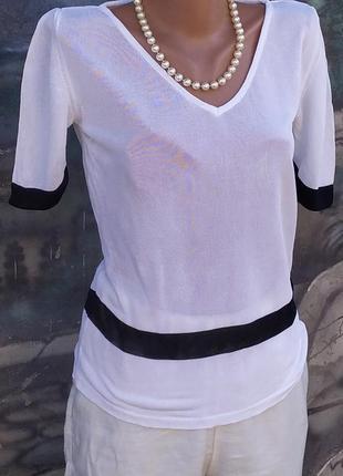 Tristiano onofri брендовая блуза короткий рукав чёрно-белая премиум бренд
