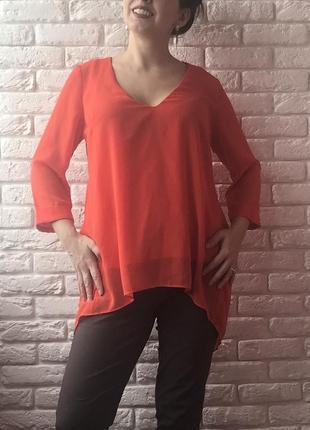 Оранжевая блуза туника1 фото