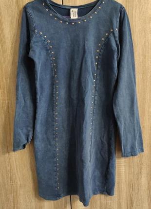 Платье-туника под джинс here there, мини платье с заклепками