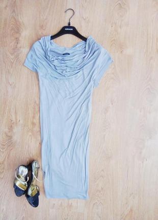 Необыкновенное серое платье с шарфом-шлейфом, s, италия, kor-a-kor оригинал, с нюансом