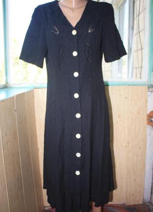 Прекрасное натуральное платье с декором на груди батал