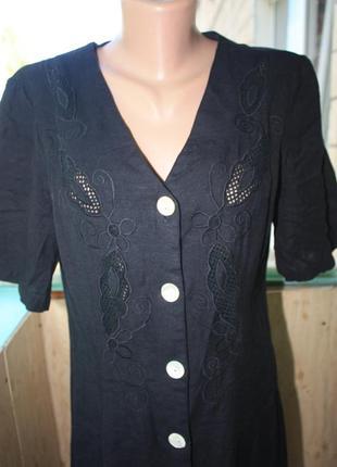 Прекрасное натуральное платье с декором на груди батал3 фото
