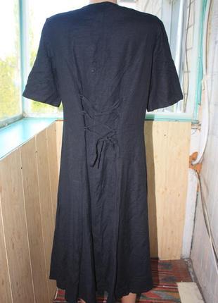 Прекрасное натуральное платье с декором на груди батал7 фото