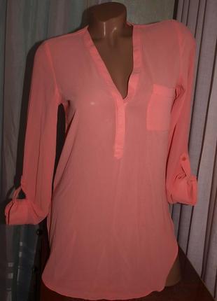 Удлинённая нежная блуза (s) лёгкая, летня, цвет персиково-розовый.