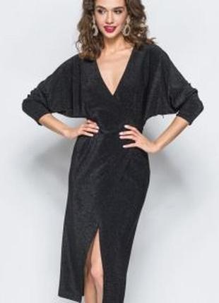 Шикарное стильное вечернее нарядное платье с люрексовой ноткой