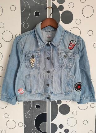 Джинсовка укороченная джинсовая курточка куртка оверсайз