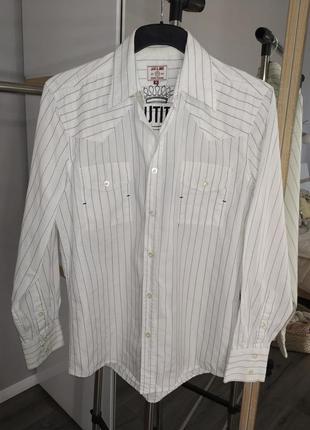 Белая рубашка в полоску с вышивкой jack & jones
