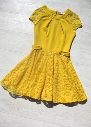 Яркое короткое платье asos жёлтое ажурное юбка гипюровая