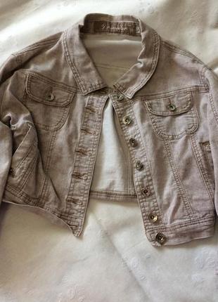 Вкорочений джинсовий піджак3 фото