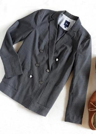 Двубортный пиджак с шерстью gap