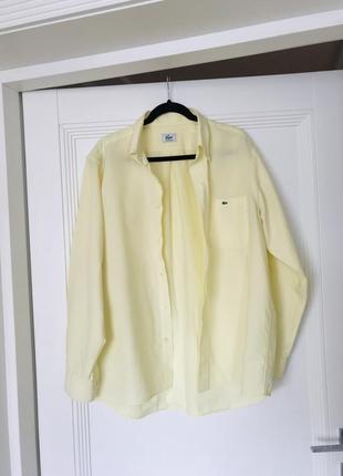 Офигенная рубашка оверсайз лимонного цвета от lacoste оригинал!6 фото