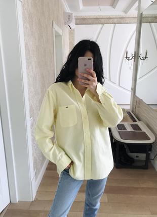 Офигенная рубашка оверсайз лимонного цвета от lacoste оригинал!4 фото