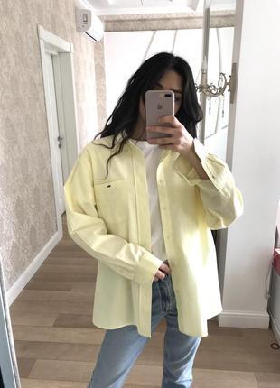 Офигенная рубашка оверсайз лимонного цвета от lacoste оригинал!8 фото