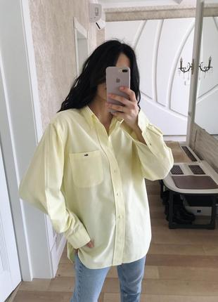 Офигенная рубашка оверсайз лимонного цвета от lacoste оригинал!7 фото