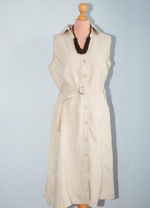 Лен сафари платье миди сарафан в стиле сафари приталенное с широкой юбкой