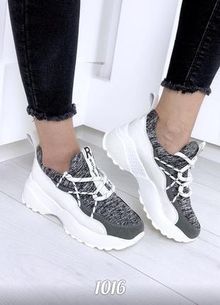 Женские текстильные кроссовки на платформе, жіночі кросівки на платформі