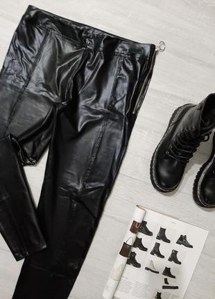Boohoo кожаные леггинсы m-l брюки кожа прямые в обтяжку укороченные узкачи тренд2 фото