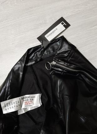 Boohoo кожаные леггинсы m-l брюки кожа прямые в обтяжку укороченные узкачи тренд4 фото