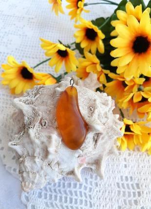 Кулон ссср янтарь натуральный советский винтажный медовый капля подвеска