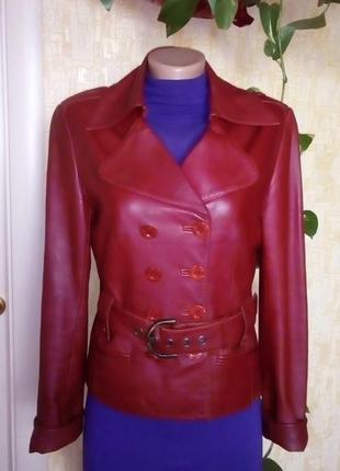Кожаная лайковая куртка с поясом/косуха/пиджак/бомбер/куртка/кофта1 фото