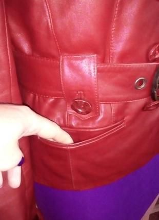 Кожаная лайковая куртка с поясом/косуха/пиджак/бомбер/куртка/кофта6 фото