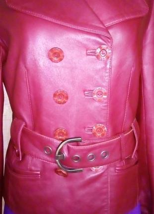 Кожаная лайковая куртка с поясом/косуха/пиджак/бомбер/куртка/кофта5 фото