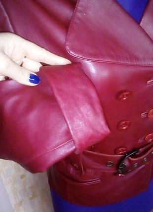 Кожаная лайковая куртка с поясом/косуха/пиджак/бомбер/куртка/кофта7 фото