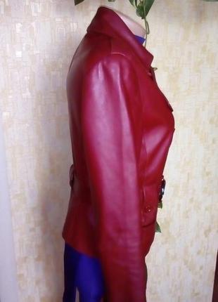 Кожаная лайковая куртка с поясом/косуха/пиджак/бомбер/куртка/кофта2 фото