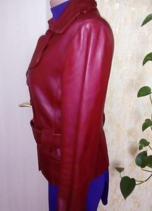 Кожаная лайковая куртка с поясом/косуха/пиджак/бомбер/куртка/кофта4 фото