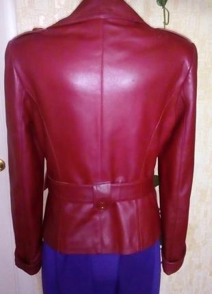 Кожаная лайковая куртка с поясом/косуха/пиджак/бомбер/куртка/кофта3 фото