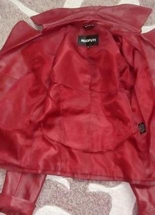 Кожаная лайковая куртка с поясом/косуха/пиджак/бомбер/куртка/кофта10 фото