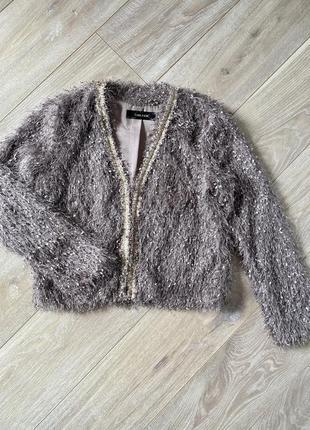 Праздничный пиджак травка zara, 36 размер. как новый!