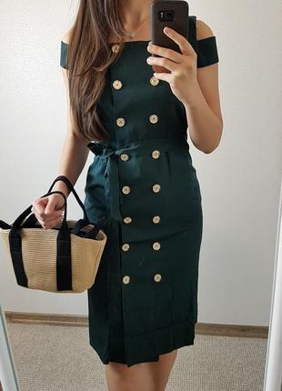 Платье пиджак миди зеленое на пуговицах размер m
