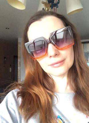 Очки окуляри солнцезащитные солнце тренд стиль 60-х крупные большие яркие цветные новые10 фото