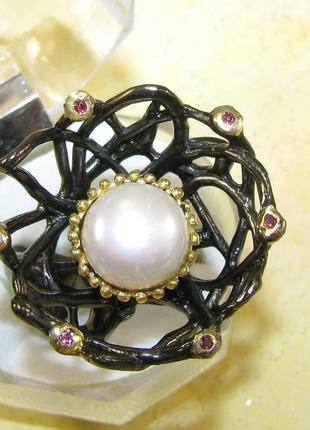 Массивное кольцо с жемчугом, серебро 925, р.17,8