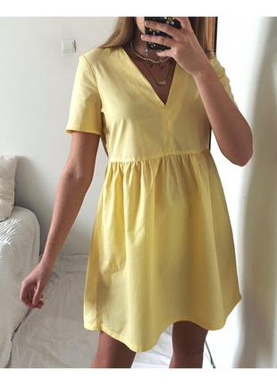 Лимонное хлопковое платье h&m