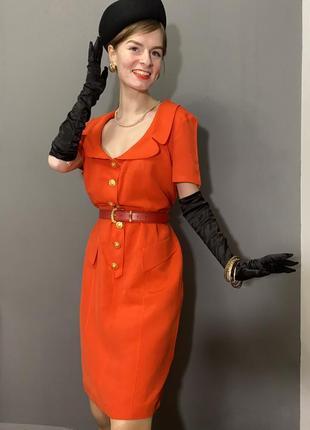 Винтажное коралловое платье-пиджак ретро фотосессия vintage retro