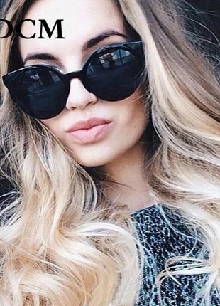 Очки окуляри темные черные солнце солнцезащитные стильные трендовые кошки новые
