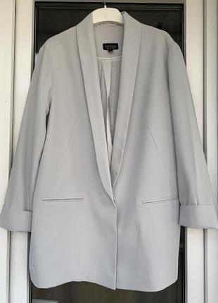 Topshop стильный удлинённый серый пиджак оверсайз с-м