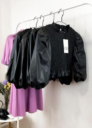 Новая блузка резинка топ кофта с пышными объемными рукавами кожаная кожзам укороченная