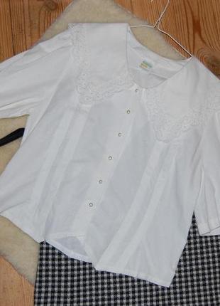 Нежная винтажная хлопковая блуза с отложным воротником и рукава-фонарики gede в идеале
