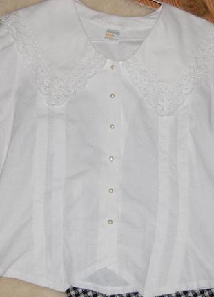 Нежная винтажная хлопковая блуза с отложным воротником и рукава-фонарики gede в идеале3 фото