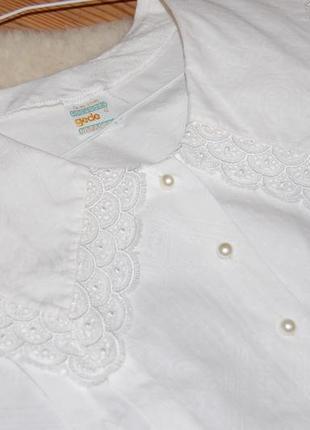 Нежная винтажная хлопковая блуза с отложным воротником и рукава-фонарики gede в идеале4 фото